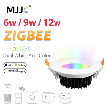 LED Downlight ZIGBEE ZLL Smart RGBCCT 6W 9W 12W AC 110V 220V Dimmable Light Bulb Link Work with Amazon Echo