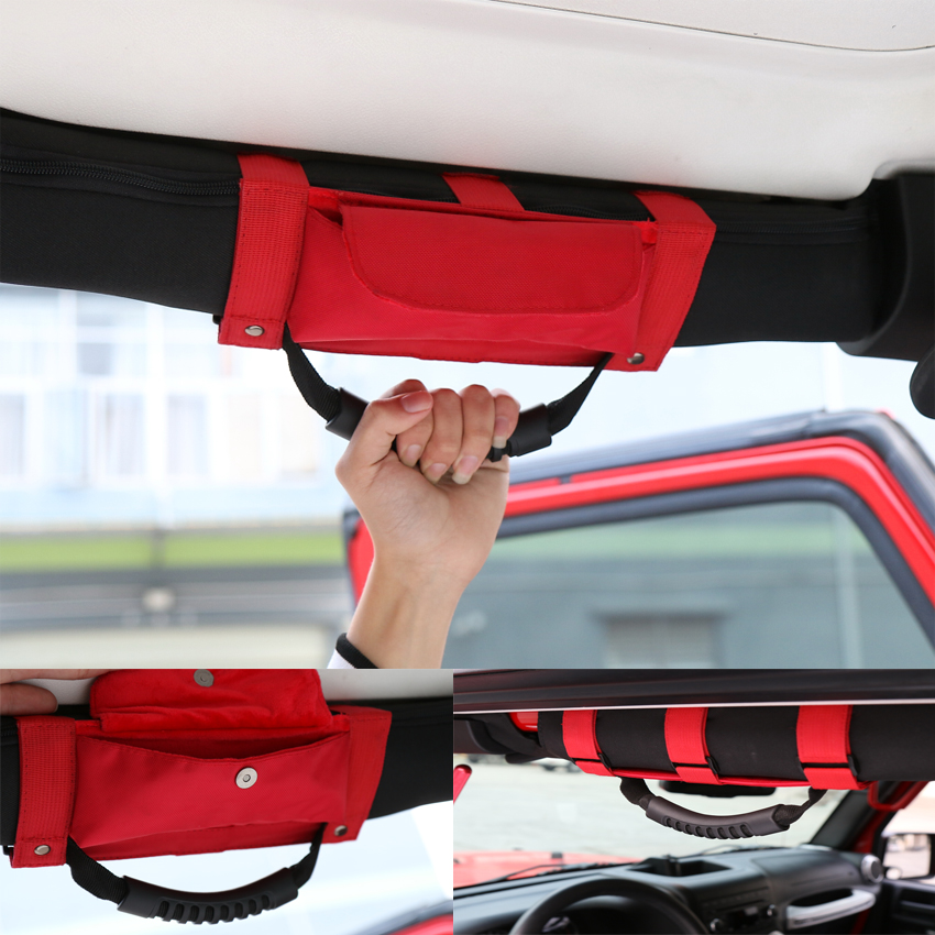 Red Black Blue Auto Car Roof Hand Hold Strip Roll Bar Sunglass Holder Storage Bag Pouch