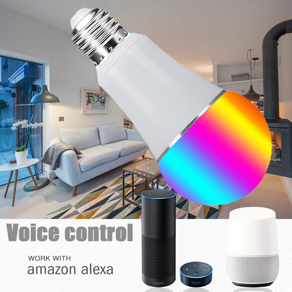Ampoule Led intelligente Wifi, E27 E26 B22 16 millions de lampe de scène de couleur blanche rvb Compatible avec le contrôle d'application de téléphone domestique Alexa Google - 3