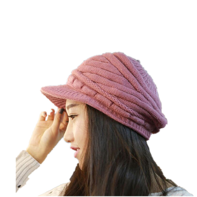 Women s Winter Hat And Cashmere Rabbit Hair Knitted Cap Knitting Wool BERET  Wholesale Fashion Squaren warm hat for girls 9ac60206088