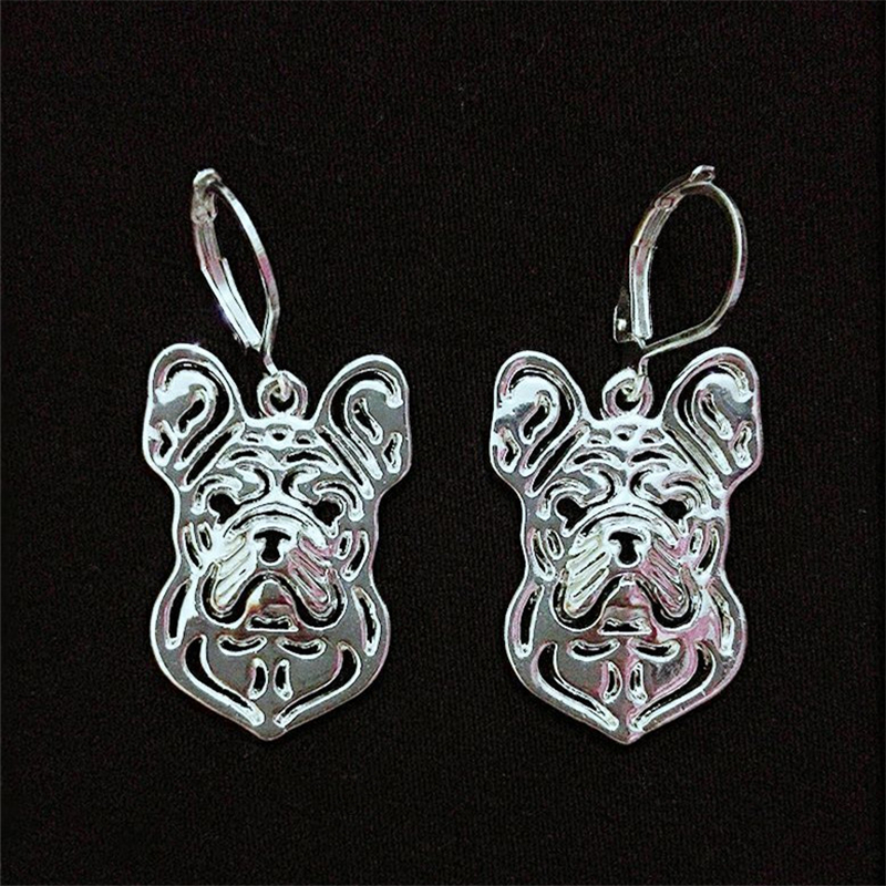 RONGQING 1pair/lot Hollow Fashion Jewelry Tiny French Bulldog Hook Earrings for Women Unique Gift Idea Boucle Doreille Femme