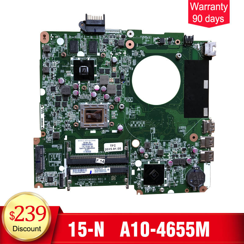 YTAI A10-4655M for HP Pavilion 15 15-N laptop motherboard 737138-501 737499-501 A10-4655M CPU DA0U92MB6D0 mainboard fully tested 737140 501 737140 001 for hp pavilion 15 n laptop motherboard da0u92mb6d0 revd a8 cpu free shipping 100