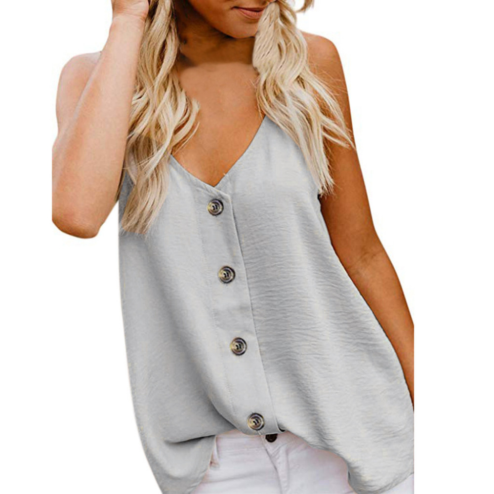 2019 Women   Blouses     Shirt   Sexy Solid Sleeveless V-Neck Button Polyester Women   Shirts   Casual Ladies Tops   Blouse   haut femme *50