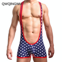 Sexy Men Undershirt Underwear Soft Cotton USA Flag Bodysuit Tank Tops Jumpsuits Wrestling Singlets Undershirts