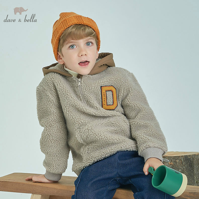DBK8723 dave bella kids boys autumn infant striped toddler top children 5-13Y high quality hooded  tees clothesDBK8723 dave bella kids boys autumn infant striped toddler top children 5-13Y high quality hooded  tees clothes