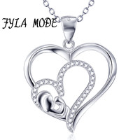 FYLA MODE 100 925 Sterling Silver Double Heart Mother Hug Baby Family Pendant Necklace Mother S