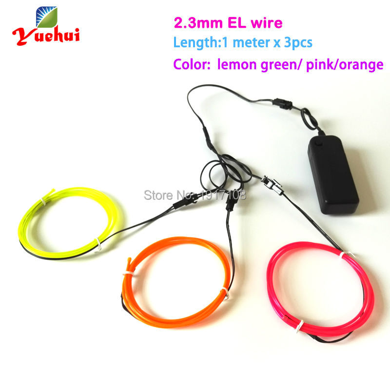 2.3mm 1Meter Custom 3pieces flexible EL wire rope tube Sparkling ...