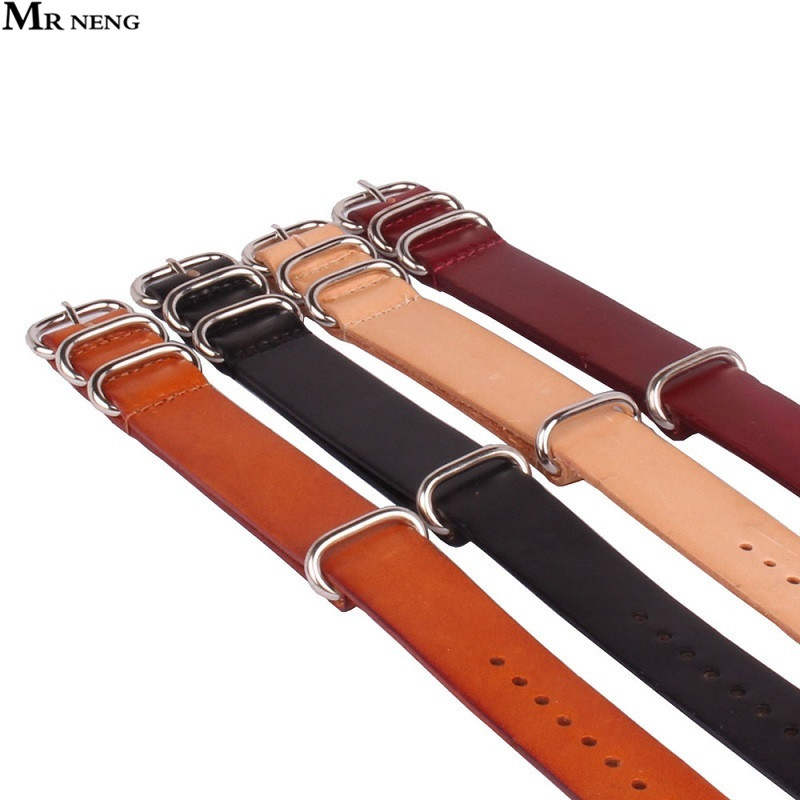 все цены на  1PCS NATO Leather For Zulu Strap, Genuine Cow Leather Watch band, NATO Straps ,Red Black Brown Watch Strap 18mm 20mm 22mm 24mm  онлайн