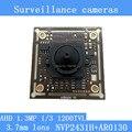"""1.3MP 1280 * 960 AHD AR0130 CCTV 960 P mini câmera de visão noturna módulo 1/3 """" centímetros 3.7 mm lente 92 graus câmera de vigilância"""