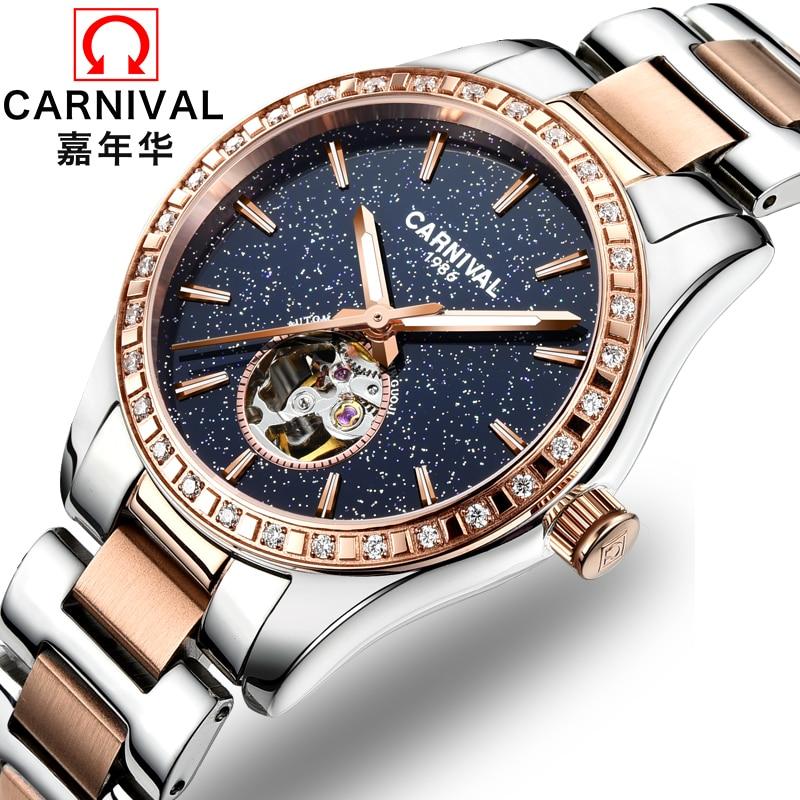 2018 Rushed Top Fashion Äkta Carnival Watch Lady Automatiska Mekaniska Fashion Stars Hollow Diamond