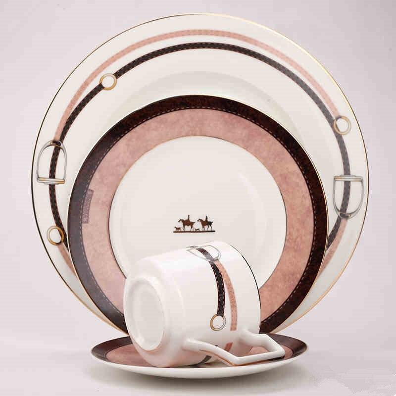 Plateau en céramique steak café | Assiettes à dîner en porcelaine, service de table en céramique de style occidental, plats de plateau pour le petit déjeuner