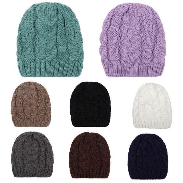 5c1e4c75644ff Mujeres Hombres Unisex invierno grueso Cable de punto sombrero acanalado  trenzado Crochet Color sólido hecho a