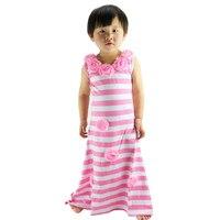 Bất Khoác Thường Xuyên Minnie Dresses New Style Strips Girl Maxi Với Bé Mùa Hè Bãi Biển Dress Bán Buôn Kids Long Cotton