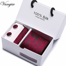 Vangise New Design With Gift Box Jacquard Woven Silk Men brand tie handkerchiefs and cufflinks