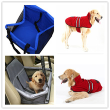 blue-Pet Dog Waterproof Car Seat Portable Puppy Bag with Clip-on Safety Leash and Zipper Storage Pocket Car Travel Accessories
