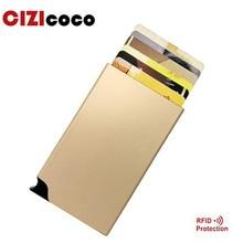 Cizicoco Women Men Antitheft metal card holder fashion RFID aluminium credit Popup Automatically Colourful Card box