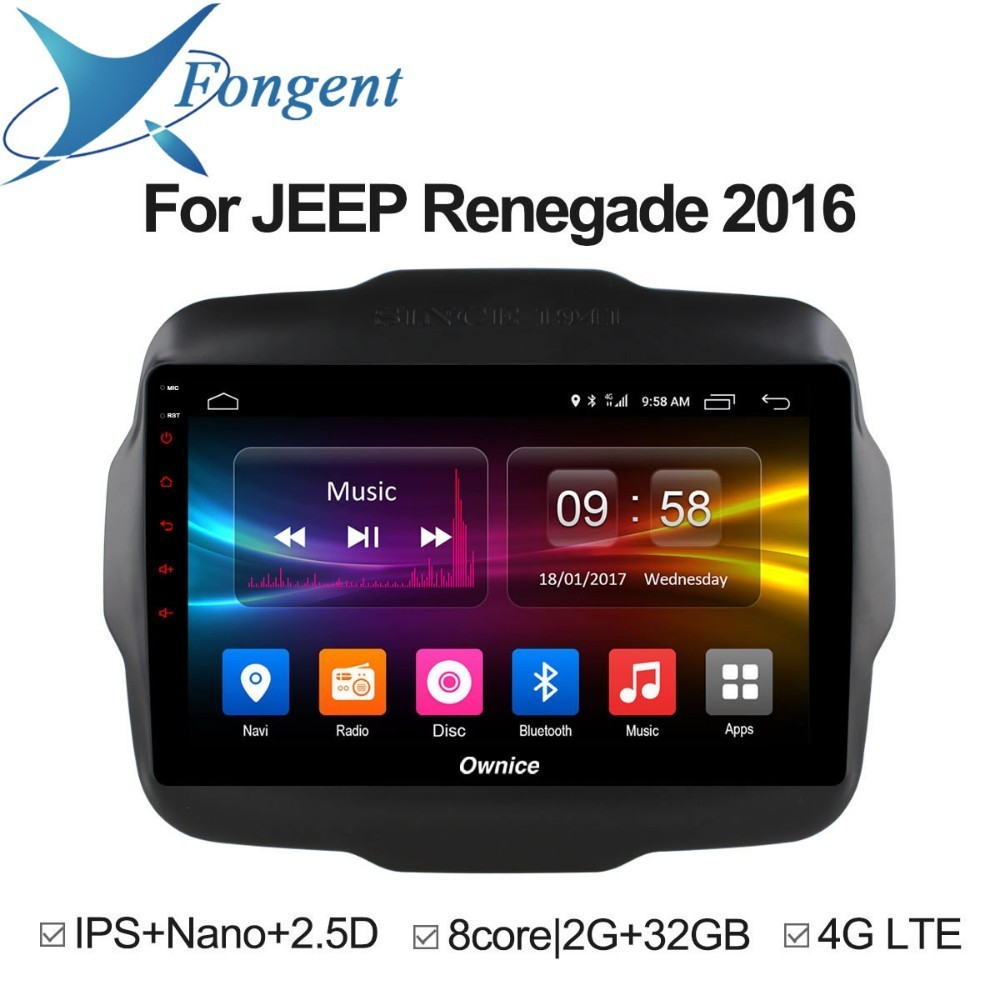 For JEEP Renegade 2016 Android Unit Intelligent System Car Pad Multimedia Player Auto Radio GPS Navigator Video DVD player 12din цена