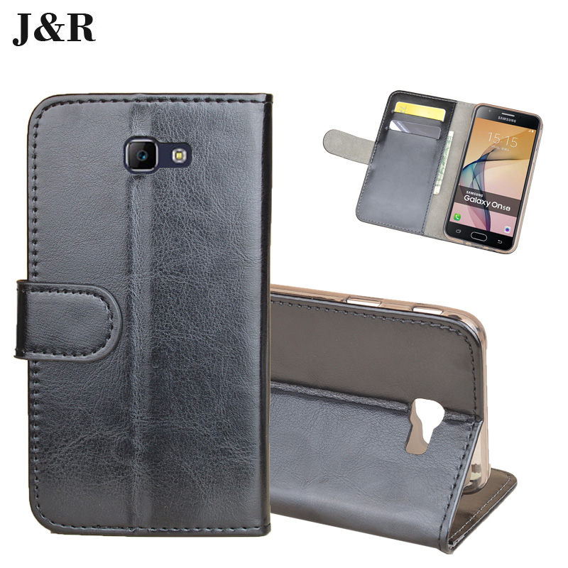 J&R Leather Case For Samsung On5 2016 Cover Flip Style High Quality Mobile Phone Shell For Samsung On7 2016 Cases Bags