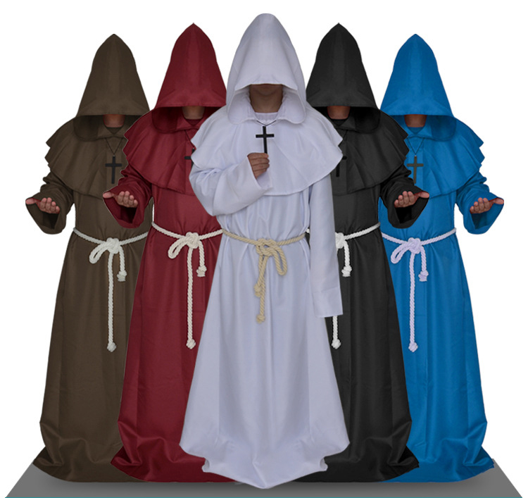 In stock!!Halloween Middle Ages Monks take godsworn robe clerical dress the priest cosplay costume for Adults 2016 free shipping