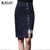 KIGO Women Denim Skirt High Waist Pencil Skirt Plus Size Sexy Slim Bodycon Side Split Button