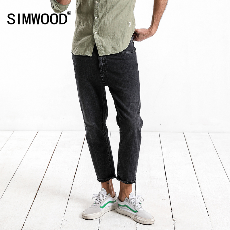 SIMWOOD 2019 Autumn Autumn New Raw Edges Jeans Fashion Scratched Black Dark Wash Ankle -Length Slim Fit Denim Trousers 180098