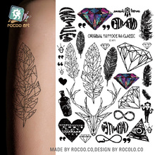 LC-871/ Latest Body Temporary Art Tattoo Stickers Unisex Temporary Body Tattoo Trend Leaf Diamond Deer Feather Heart Tattoos