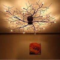 Modern Branch Chandelier Globe Creative Black Metal Twig Ceiling Lamp Office Living Room Light G4 LED D90CM