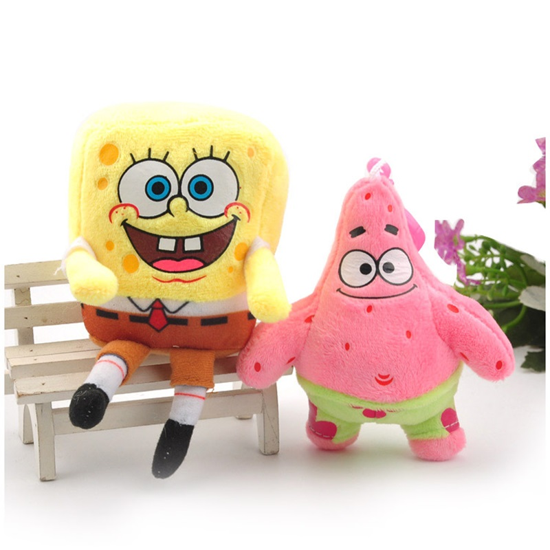 Spongebob Patrick Star Plush Toys Small Pendant Key Chains Stuffed Animals Kids Toys Creative Birthday Gifts Home Decoration