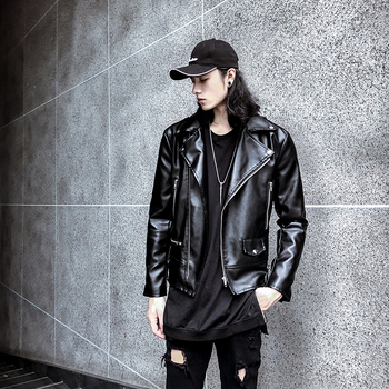 2019 Men's New High Quality Leather Jacket Suoer Handsome PU Leather Jacket Korean Fashion Motorcycle Black Coat Size M-3XL