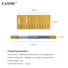UANME 12Pcs IC Chip Repair Thin Blade CPU Remover + 1 Metal Handle For iPhone Processors Flash Logic Board Tool (13 IN 1)