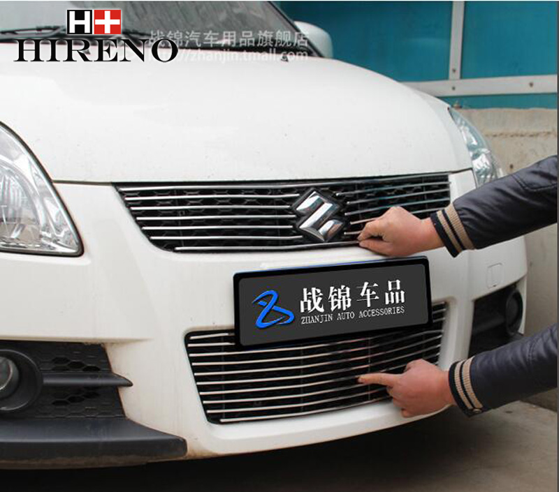 Stainless Steel Car Racing Grills For Suzuki Swift 2011-2014 Front Grill Grille Cover Trim Car styling