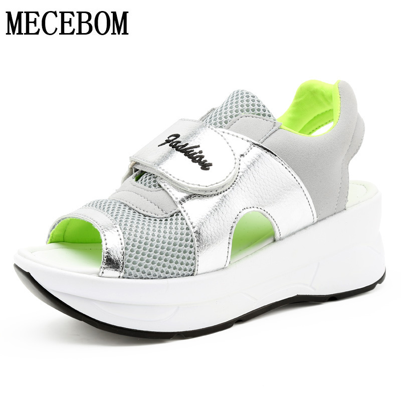 2018 Fashion Summer Women's Sandals Casual Mesh Breathable Shoes Woman Comfortable Wedges Lace Platform Sandalias 8090W women sandals 2017 summer shoes woman wedges fashion gladiator platform female slides ladies casual shoes flat comfortable