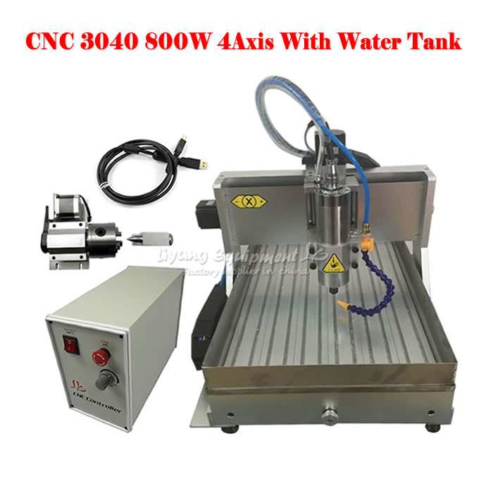 4 Axis usb CNC 3040 CNC Cutting Machine 6040 Engraving Wood Router Water Tank Drilling Miling Machine russain no tax wood acrylic 500w cnc router engraver engraving milling drilling cutting machine cnc 3040 usb port