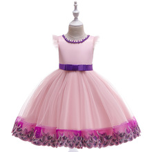 Трансфер из аэропорта, бизнес бальное платье тюль Туту платья детей принцесса девочки платье розовый Pageant платья партии с кристаллами