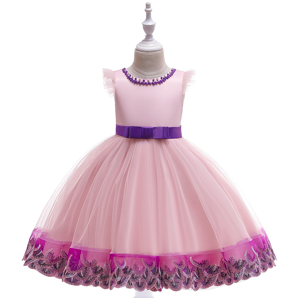 Popluar Ballgown Tulle Tutu   Dresses   Kid Princess Little   Girls     Dress   Pink Pageant Party   Girls   Gowns with Pearls