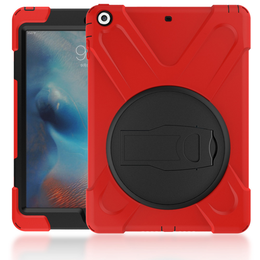 Heavy Duty For iPad 6 iPad Air 2 Shockproof Armor Case Silicon + PC Kickstand Funda For iPad Air 2 iPad 6 Cover Stand Anti-Drop for amazon 2017 new kindle fire hd 8 armor shockproof hybrid heavy duty protective stand cover case for kindle fire hd8 2017