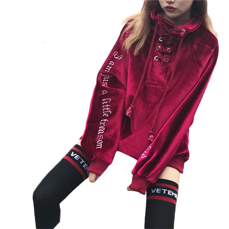 Korean Streetwear alphabet velvet embroidered top Harajuku wind loose turtleneck long sleeved sweater coat of female students 42