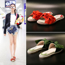 Bow and sandals slippers summer 2018 new Korean wild fashion flat outdoor  wear red grass shoes 2fd472ab0967