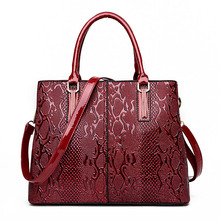купить 2019 new Luxury Brand Snake Women Bag Black Red Patent Leather Women Handbags Set Large Capacity Shoulder Bag Female Tote Bags по цене 2364.26 рублей