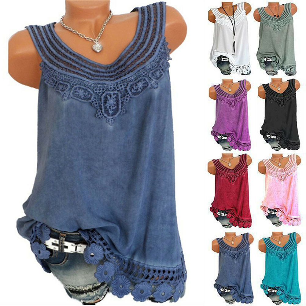 Plus Size 3xl Women Ladies Cami Lace Splice   Top   Camisole Sexy Vest Loose   Top   Sleeveless T-Shirt   Tank   Vest Fashion Summer Clothes