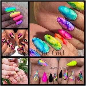 Image 5 - 12colors/set Neon Pigment Nail Powder Dust Ombre Nail Glitter Gradient Glitter Iridescent Acrylic Powder Nail Art Decoration