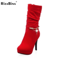 Women High Heel Half Short Boots Bowtie Autumn Winter Warm Boot Platform Brand Quality Heels Footwear