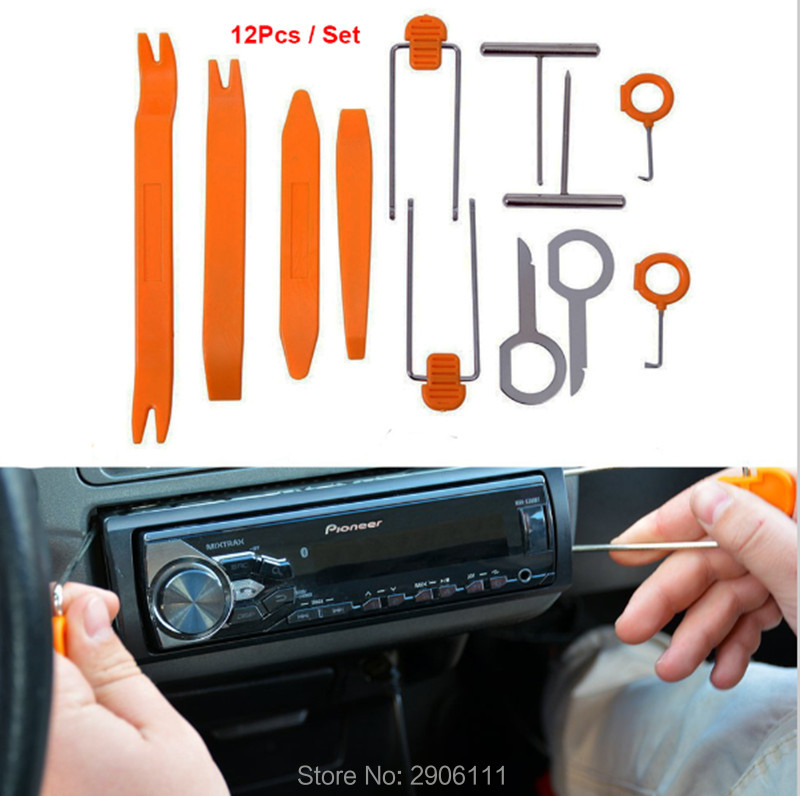 12pcs Car Stereo Installation Kits Car Radio Removal Tool for Nissan qashqai tiida almera juke primera accessories car-styling