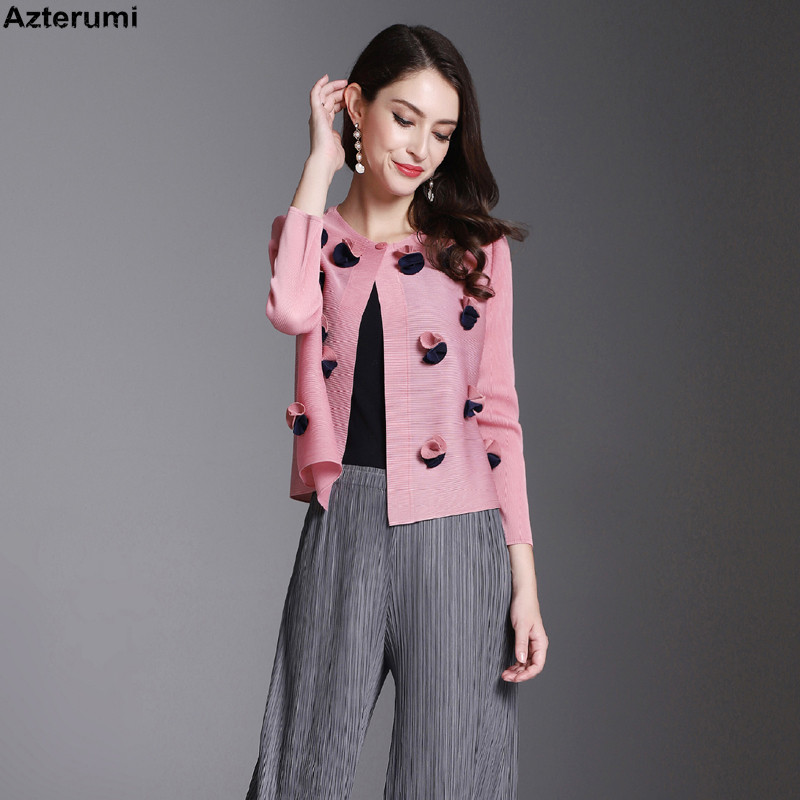 Azterumi Special Pleats Women Thin Single Button Short Jacket Spring New 2019 Solid Color Sweet Tops