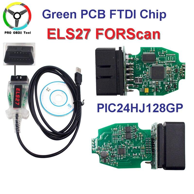ELS27 FORScan Vert PCB FTDI Puce + PIC24HJ128GP Fonctionne Pour Ford/Mazfa/Lincoln/Mercury ELS 27 Scanner mieux que elm327 Libèrent le bateau