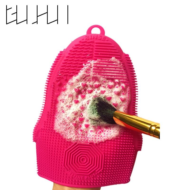 1 pçs luva silicone scrubber esteira com gancho texturas pinceles almofada de lavagem maquiagem escova de limpeza esteira ferramentas de beleza escova mais limpa