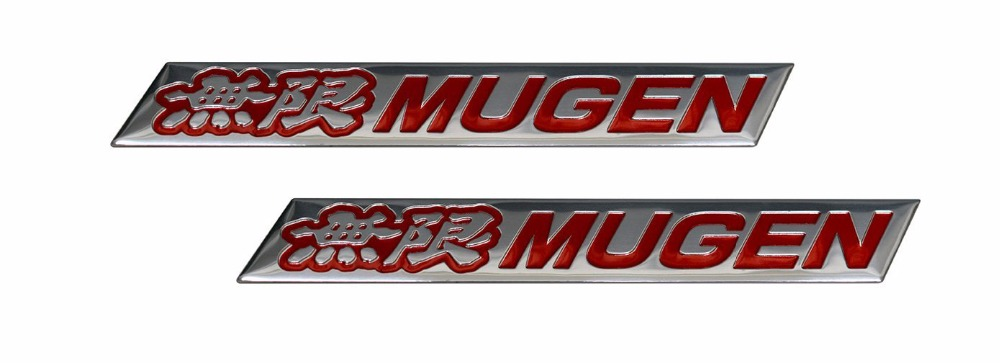 2 X Pair Set Mugen Embossed RED On Highly Polished Silver Real Aluminum Auto Emblem Badge