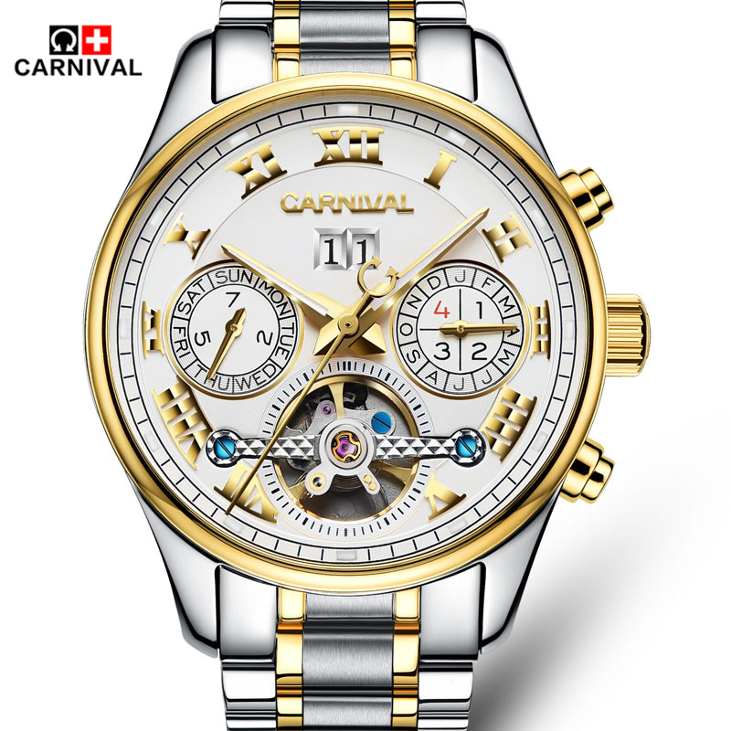 Carnival Classic Tourbillon Luminous Series Fashion 3D font b Designer b font Full Steel Strap Mens