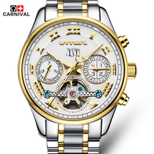 Carnival Classic Tourbillon Luminous Series Fashion 3D Designer Full Steel Strap Mens Watches Top Brand Luxury Automatic Watch