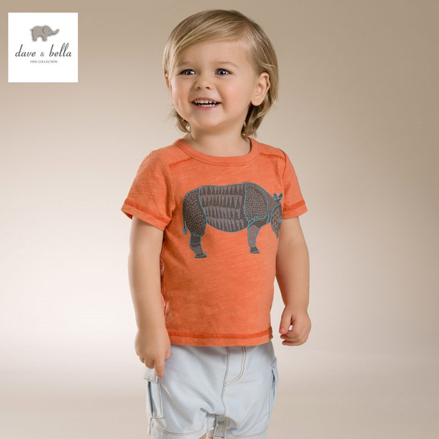DB3558 dave bella bebê verão menino animais impresso menino algodão t camisa roupas infantis toddle leão tees meninos encabeça elefante t-shirt